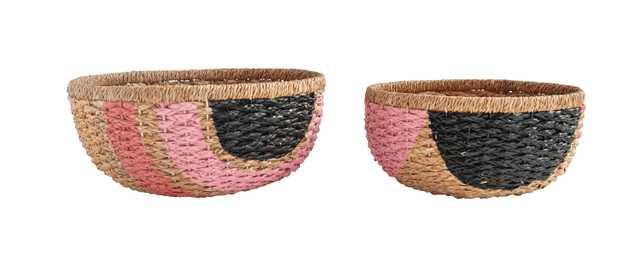 Hand-Painted Pink & Black Bangkuan Braided Baskets (Set of 2 Sizes) - Moss & Wilder