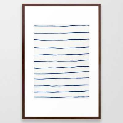 Blue Stripes Framed Art Print by Georgiana Paraschiv - Conservation Walnut - LARGE (Gallery)-26x38 - Society6