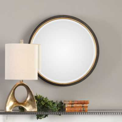 Sturdivant Antiqued Gold Round Mirror - Hudsonhill Foundry