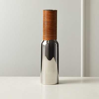 Quinn Stainless Steel and Leather Vase - CB2