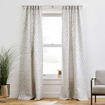 "Maze Jacquard Curtain, Frost Gray, 48""x96"" - West Elm"