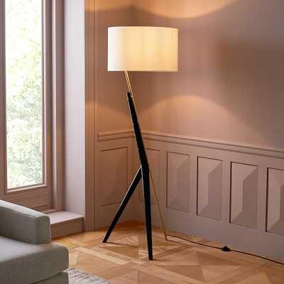 Caldas Floor Lamp, Natural Linen, Black/Antique Brass - West Elm
