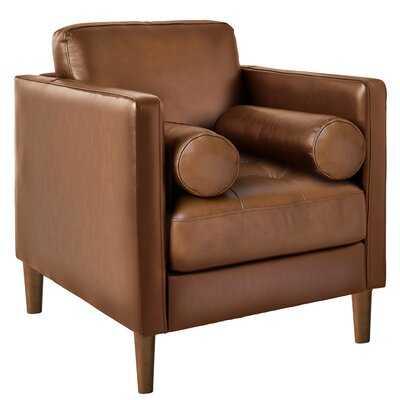 "Sire 31"" W Tufted Genuine Leather Cowhide Armchair - Wayfair"