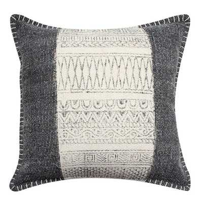 "Benjara White and Gray Block Print Hand Woven Cotton 18"" L x 18"" W Throw Pillow - Home Depot"