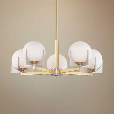 "Maxim Finn 26"" Wide Satin Brass Platinum 5-Light Chandelier - Style # 75H35 - Lamps Plus"