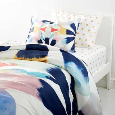 Painted Fan Twin Duvet Cover - Crate and Barrel