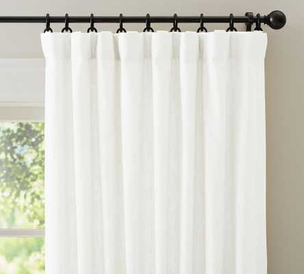 "Emery Linen/Cotton Rod Pocket Curtain, 50"" x 108"", White - Pottery Barn"
