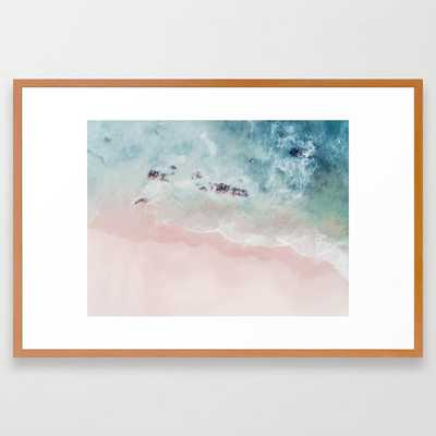 Ocean Pink Blush Framed Art Print by Ingrid Beddoes Photography - Conservation Pecan - LARGE (Gallery)-26x38 - Society6