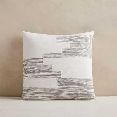 "Cotton Variegated Colorblock Pillow Cover, 18""x18"", Frost Gray - West Elm"