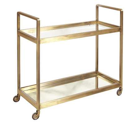 "Kern 33"" Metal Bar Cart, Gold - Pottery Barn"