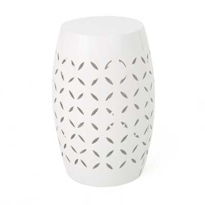Noble House Lilac White Round Metal Outdoor Side Table - Home Depot