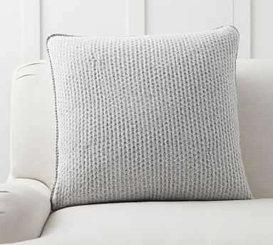 """Thermal Knit Sherpa Back Pillow Cover, 24"""", Heathered Gray - Pottery Barn"""