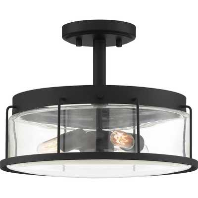 Quoizel Ludlow 3-Light Earth Black Semi-Flush Mount - Home Depot