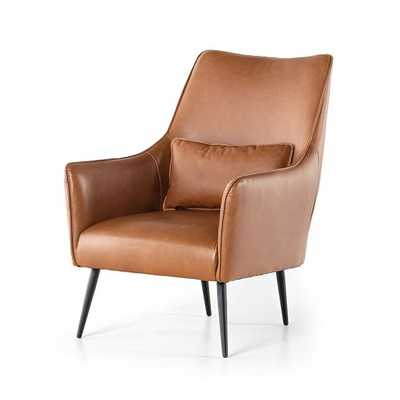 Tall Winged Chair - Vintage Caramel - West Elm