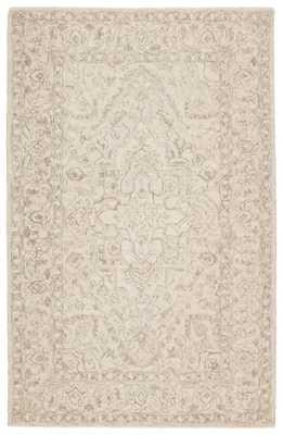 Lena Handmade Medallion Light Gray/ Cream Area Rug (9'X12') - Collective Weavers