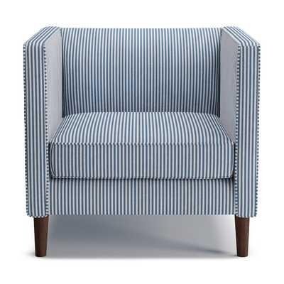 Tuxedo Chair   Azul Ticking Stripe - The Inside