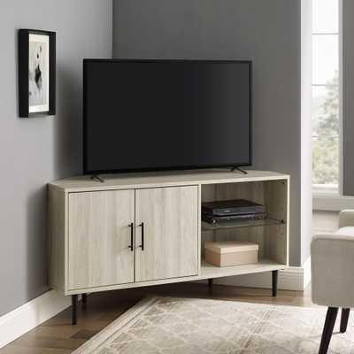 "Welwick Designs 48"" 2 Door Glass Shelf Corner TV Console - Birch, Brown - Home Depot"