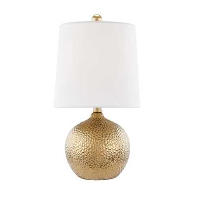 Mitzi by Hudson Valley Lighting Heather 1-Light Gold Table Lamp with Off White Shade - Home Depot