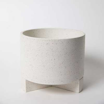 Large Planter With Base Concrete Removable Base White Terrazzo - West Elm