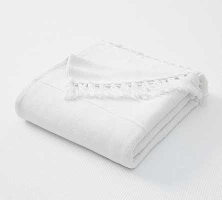 White Cotton Fringe Blanket, King/Cal. King - Pottery Barn