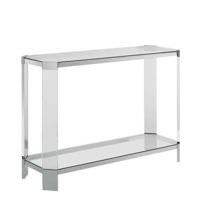 Powell Company Miller Chrome Console, Grey - Home Depot