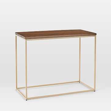 Streamline Side Table, Dark Walnut, Light Bronze, Set of 2 - West Elm