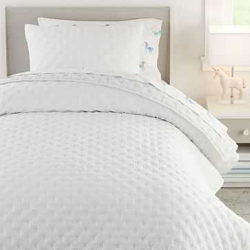 Square Stitch Quilt, Full/Queen, White - West Elm