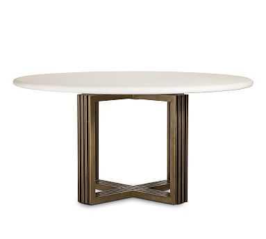 "Kilmer Round Dining Table, White/Antique Brass, 60"" D - Pottery Barn"