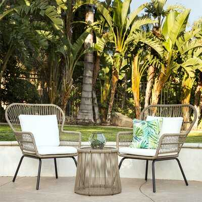 Strine 3-Piece Patio Wicker Conversation Bistro Set W/ 2 Chairs, Glass Top Side Table, Cushions - Wayfair