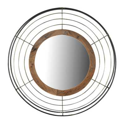 Round Wall Mirror with Wood Frame and Metal Wire Surround - Nomad Home