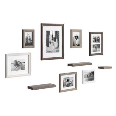 Kate and Laurel Bordeaux Multi/Gray with Shelves Picture Frames (Set of 10) - Home Depot