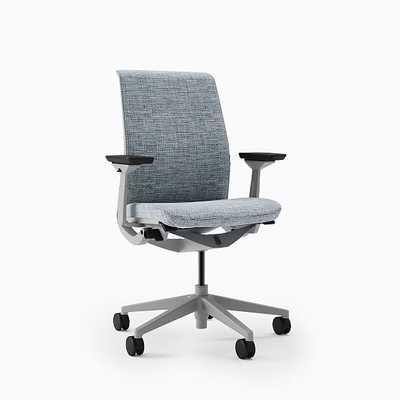 Steelcase Think HA Armed Task Chair, Soft Casters, Seagull Frame, Tweed Multi, Medium Blue - West Elm