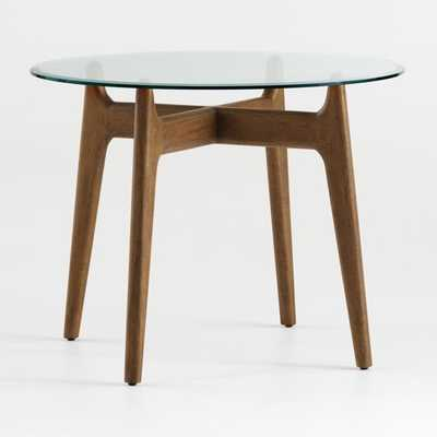 "Tate 38"" Round Dining Table with Glass Top and Walnut Base - Crate and Barrel"