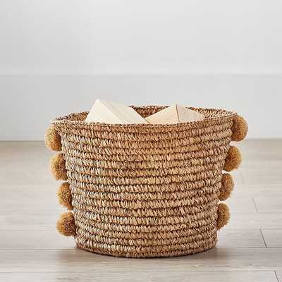 Natural Woven Pom Pom Storage, Small - West Elm