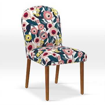 Round Back Dining Chair, Print, Modern Floral, Pink Blossom - West Elm