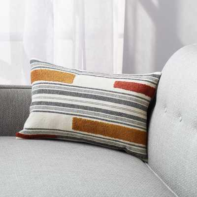 """Reims 18""""x12"""" Stripe Pillow Cover with alternative down insert - Crate and Barrel"""