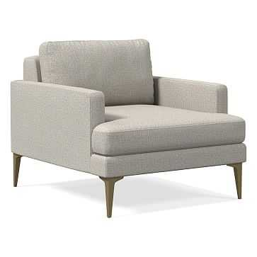 Andes Chair, Performance Twill, Stone, Blackened Brass - West Elm