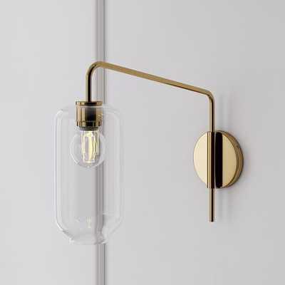 Sculptural Adjustable Sconce, Pebble Medium, Clear, Antique Brass - West Elm