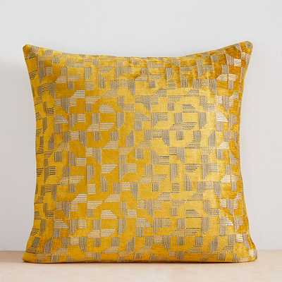 "Geo Chenille Jacquard Pillow Cover, 20""x20"", Dark Horseradish - West Elm"