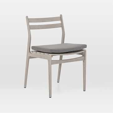 Teak Wood Low-Back Outdoor Dining Chair, Weathered Gray - West Elm