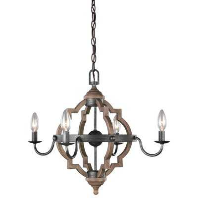 Renee 4 - Light Candle Style Geometric Chandelier with Wood Accents - Birch Lane