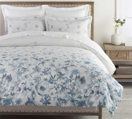 Gray Florence Floral Organic Percale Duvet Cover, King/Cal. King - Pottery Barn
