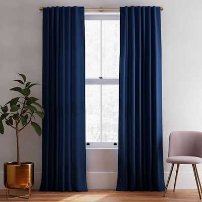 "Solid European Flax Linen Curtain, Midnight, 48""x108"" - West Elm"