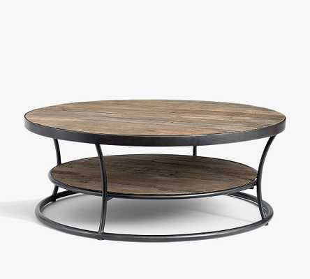 "Bartlett Round Metal & Reclaimed Wood Coffee Table, 42.5""L - Pottery Barn"