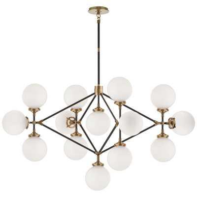 Visual Comfort Ian K. Fowler 14 - Light Sputnik Modern Linear Chandelier Finish: Hand-Rubbed Antique Brass/Black, Shade Color: White - Perigold
