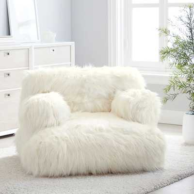 Himalayan Faux-Fur Eco Lounger, Ivory - Pottery Barn Teen