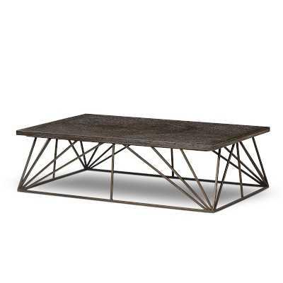 """Berlin Coffee Table, 56"""", Wood, Espresso, Bronze - Williams Sonoma"""