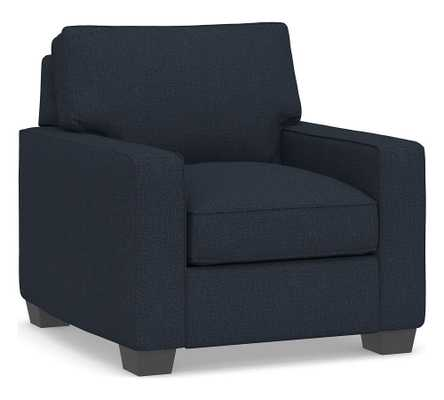 PB Comfort Square Arm Upholstered Recliner, Box Edge Memory Foam Cushions, Performance Brushed Basketweave Indigo - Pottery Barn