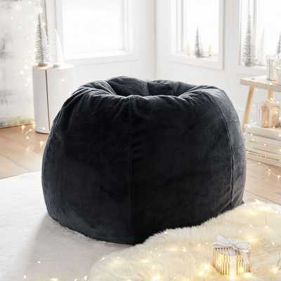 Recycled Faux-Fur Bean Bag Chair Slipcover + Insert, Periscope/Black, Large - Pottery Barn Teen