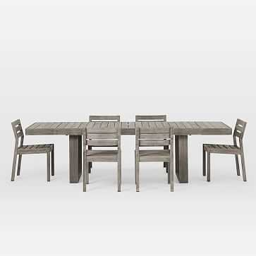 Portside Outdoor Expandable Dining Table + 6 Solid Wood Chairs Set - Weathered Gray - West Elm